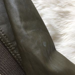 Michael Kors Leather bomber jacket - army green